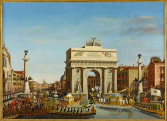 Visite de NapolÈon Ier ‡ Venise du 28 novembre au 8 dÈcembre 1807: EntrÈe de l'Empereur en gondole sur le Grand Canal- aprËs avoir ÈtÈ reÁu par le patriarche de Venise- le cortËge se rendant au palais des Procurateurs, passe sous l'arc de triomphe